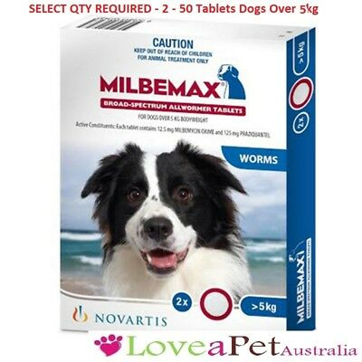 Milbemax Allwormer/All Wormer/Heartworm Tablets For Dogs Over 5kg