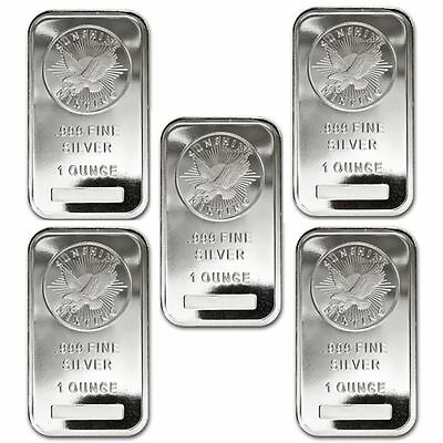 Lot of 5 - 1 oz Sunshine Minting Silver Bar .999 Fine Silver