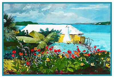 Winslow Homer's Bermuda Bungalow Flowers Counted Cross Stitch Chart Pattern