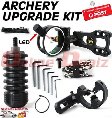 Compound Bow Upgrade Kit Stabilizer Led Fibre Optic Sight Arrow Rest Archery