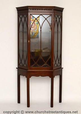 Impressive Antique Mahogany Display Cabinet On Stand