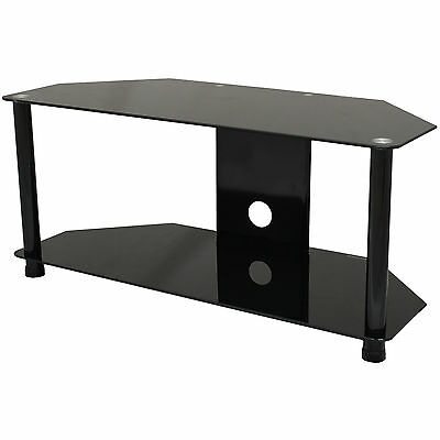 """Black Glass Tv Floor Stand/unit/shelf For Dvd Xbox Ps4 Up To 42"""" Led/lcd/plasma"""
