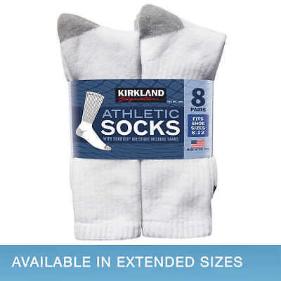 Kirkland Signature Men's Athletic Socks 8-pair - WHITE (Select Size) FAST SHIP