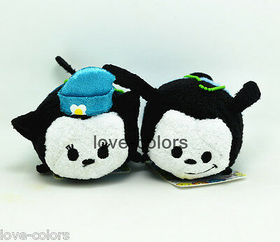 3 1/2 New 2pcs Oswald the Lucky Rabbit and Ortensia Tsum Tsum plush Toy Dolls