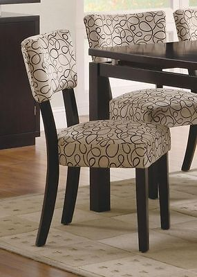 Tan Upholstered Cappuccino Dining Side Chair by Coaster 103162 - Set of 2