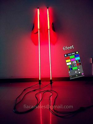 2Pieces 6FT Bluetooth App Control QuickConnect ATV LED RGB Whips Light Shipped