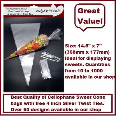 """50 CLEAR Plain Cone Cellophane Sweet / Party Bags With 4"""" Silver Twist Ties"""