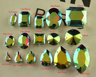 30pc siam ab sew on faceted teardrop/oval crystal glass foiled rhinestones y-pk