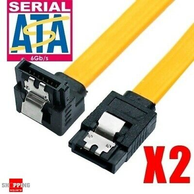 2x SATA 3 III 3.0 Data Cable 6Gbit/s Metal Latch Serial ATA Hard Drive HDD SSD