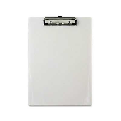 Saunders Plastic Clipboard, 1/2 Capacity Holds 8-1/2w x 12h, Pearl SAU00442