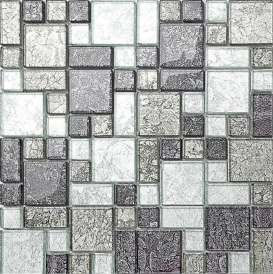 Black & Silver Hong Kong Foil Glass Mosaic Tiles Modular Bathroom Shower 0044