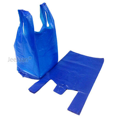 "Large Strong Vest Style Carrier Bags Blue 11""x17""x21"" Recylce 20Micron 4****"
