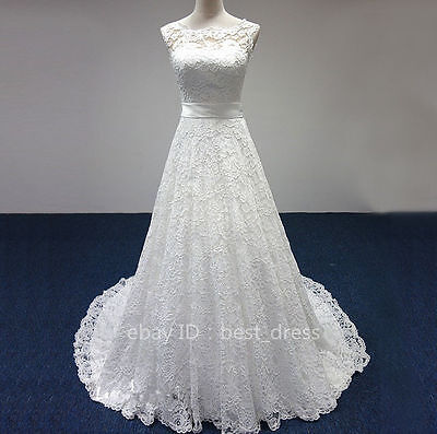 New lace white/ivory Wedding dress Bridal Gown custom size 6-8-10-12-14-16-18+++