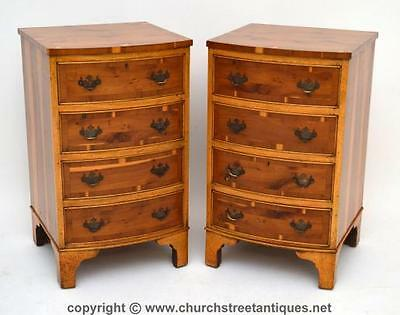 Pair Of Yew Wood Bedside Chests - Antique Georgian Style