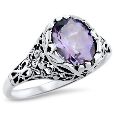 Genuine Brazilian Amethyst .925 Sterling Silver Antique Design Ring,        #816