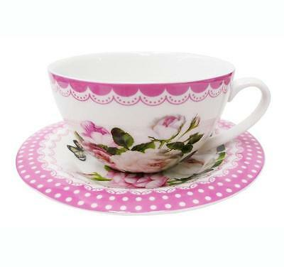 Tea Cup and Saucer Set -Pink Floral- New Bone China