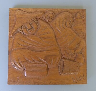"""Old vintage Mexican bas relief wood carving plaque by ARIAS 9 3/8"""" x 9 3/4"""""""
