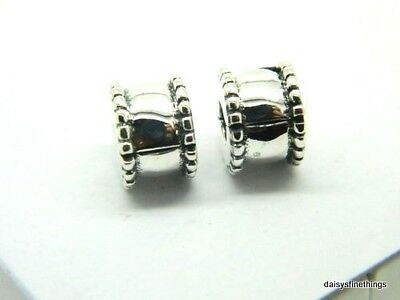 New/tags  Authentic Pandora Silver Charm Beveled Clip (2 Each) #790267