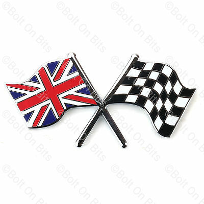 Union Jack Chequered Flags Badge Metal Enamel Self Adhesive MG ZR ZS ZT MGF MGTF