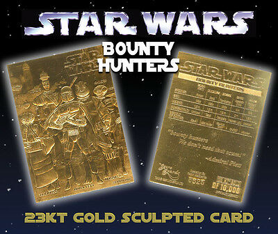STAR WARS Bounty Hunters Genuine 23K GOLD CARD * $7.95 Officially Licensed
