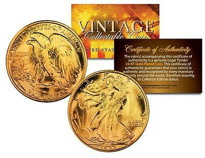 1930s WALKING LIBERTY Silver Half Dollar US Coin 24K GOLD PLATED w/Capsule & COA