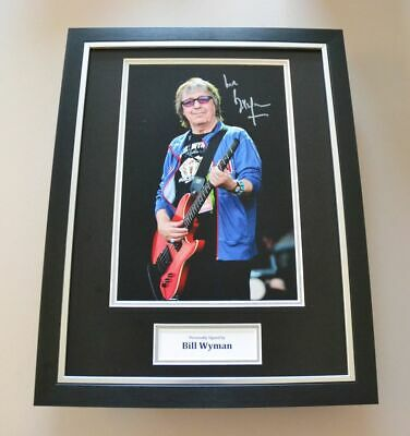 Bill Wyman Signed Framed 16x12 Photo Autograph Display Rolling Stones + COA