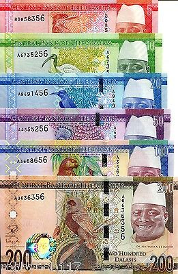 GAMBIA 6 NOTE SET Dalasis Banknote World Paper Money 2015 Currency BILL Birds