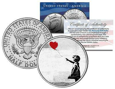 BANKSY * THERE IS ALWAYS HOPE * Colorized JFK Half Dollar U.S. Coin BALLOON GIRL