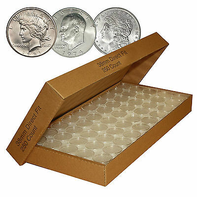 250 Direct-Fit Airtight H38 Coin Capsule Holder For MORGAN / PEACE / IKE DOLLARS