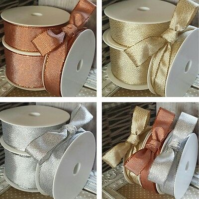 25, 38, 60mm Wired Metallic Lame Ribbon. Gold, Silver, Copper. Wedding Christmas