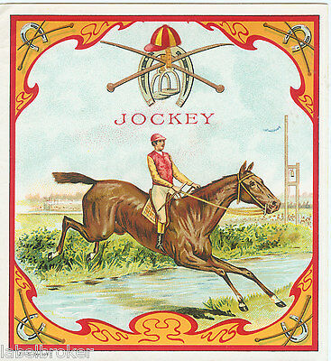 Cigar Box Label Vintage Outer 1890S Jockey Horse Equestrian Thoroughbred Race