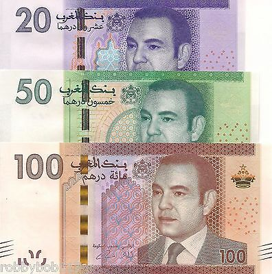 MOROCCO 3 NOTE SET Dirhams Banknote World Money p74-76 Currency Africa 2012 Bill