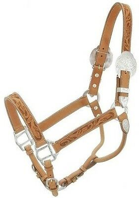 Horse Silver Show Halter - Light Oil Leather - Handtooled - Silver Royal