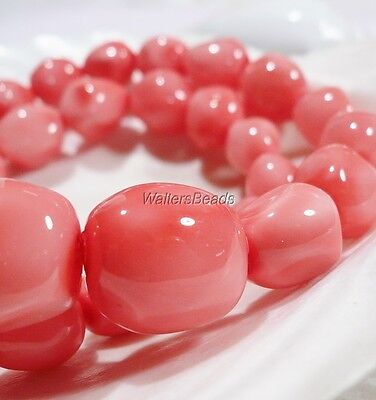 Natural Oyster Sea Shell Peach Pink  Bead Nuggets Strand  15 MM  (1 )