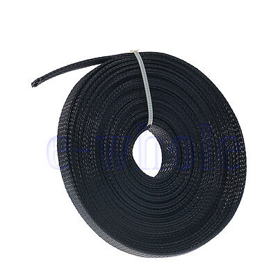 10m 10mm Expandable PET Braided Cable Wire Sleeving Good Flexibility Elastic EW