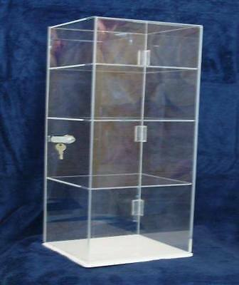 "Acrylic Countertop Display Case 8 x 8 x17.5"" Locking Security Show Case /Shelves"
