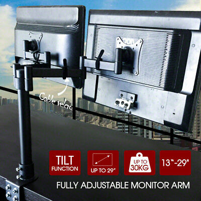 """13""""-29"""" Dual LED Monitor Stand Desk Mount Bracket 2 Arm Holds Two LCD Screen TV"""