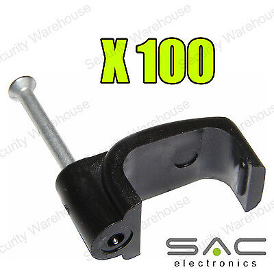 100 x RG6/100 CABLE CLIPS Twin Coaxial Satellite SHOTGUN Wire Sky + Plus HD TV
