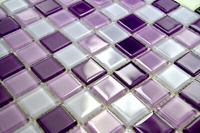 LUXURY GLASS MOSAIC TILES CRYSTAL PURPLE KMC09 Bathroom Kitchen Backsplash