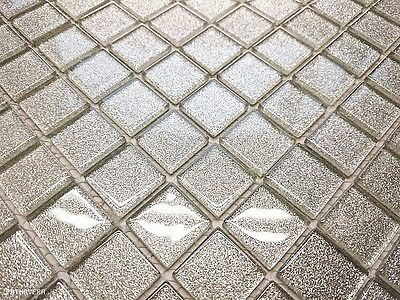 LUXURY GLASS MOSAIC TILES GLITTER SILVER B116 Bathroom Kitchen Backsplash