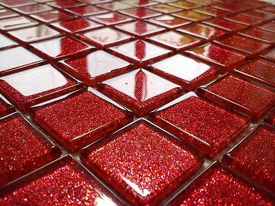 LUXURY GLASS MOSAIC TILES GLITTER RED B113 Bathroom Kitchen Backsplash