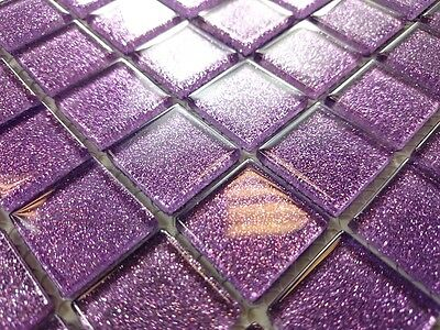 LUXURY GLASS MOSAIC TILES GLITTER  PURPLE + White  mix BM126  Bathroom Kitchen