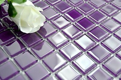 LUXURY GLASS MOSAIC TILES CRYSTAL PURPLE K012 Bathroom Kitchen Backsplash