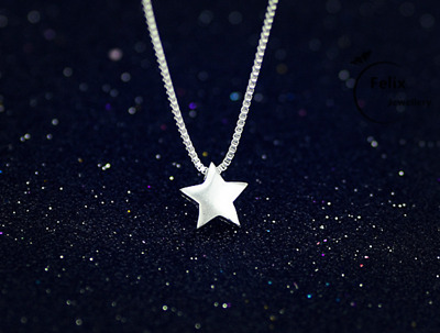 Lovely Star Pendant 925 Sterling Silver Necklace Chain Women Jewellery Love Gift