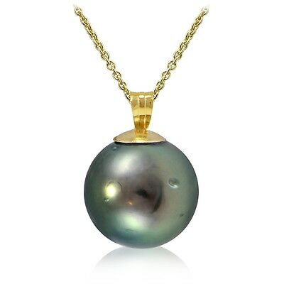 14K Yellow Gold Tahitian 12mm Cultured Pearl Necklace