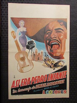 """Vintage Mexican Lobby Card 12.5x19.5"""" VG THAT WAS PEDRO INFANTE"""