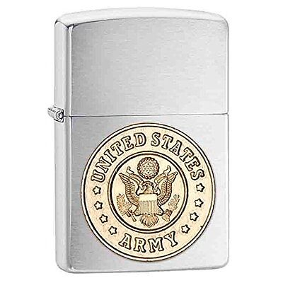 Zippo Windproof Chrome Lighter With U.S. Army Emblem, 280ARM, New In Box