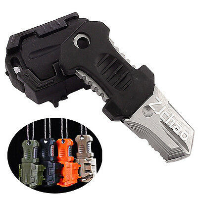 Multifunction EDC Mini Pocket Survival Tool  Webbing Self Defense Knife Black
