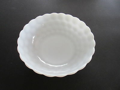 "Vintage Anchor Hocking Milk White Glass Bowl in the ""Bubble"" Pattern"