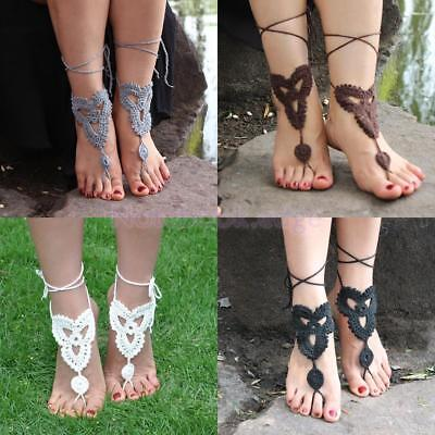 Pair Cotton Crochet Ankle Bracelet Anklet Foot Chain Barefoot Wedding Beach Gift